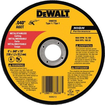 Dewalt High Performance Dw8725 60-Grit Alo2 Type 1 Small Diameter Cut-Off Wheel, 6 Inch X .040 Inch X 7/8 Inch DW8725 DEWDW8725
