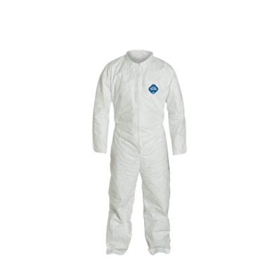 Dupont Tyvek High Density Polyethylene Coverall, White, Large, Front Zipper, 0.44 Lb, 25/Case DUPTY120S-L DUPTY120S-L