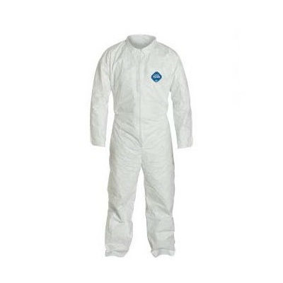 Dupont Tyvek High Density Polyethylene Coverall, White, Xl, Front Zipper, 0.44 Lb, 25/Case DUPTY120S-XL DUPTY120S-XL