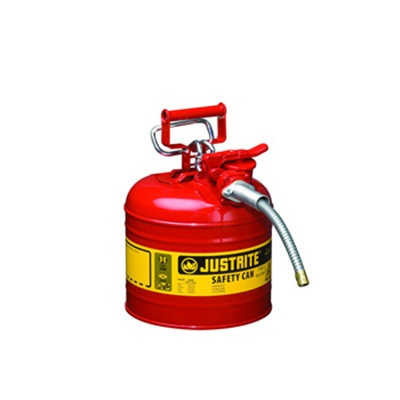 "Justrite Type Ii Accuflow Steel Steel Safety Can For Oil, 2 Gallon, 5/8"" Metal Hose. 7220120 JUS7220120"