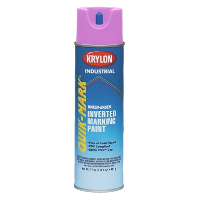 Krylon Quik-Mark S03612 17 Oz Can Industrial Inverted Marking Paint, Fluorescent Pink S03612 KRYS03612