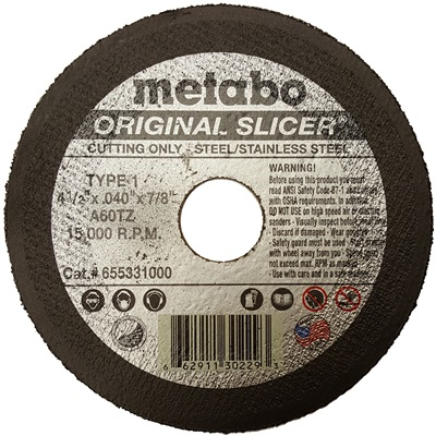 Metabo Choice Cuts Original Slicer 655331000 60-Grit Alo2 Type 1 Straight Cut-Off Wheel, 4-1/2 Inch X .040 Inch X 7/8 Inch 655331000 MET655331000