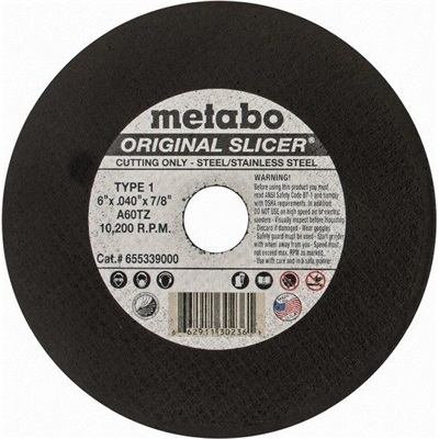 Metabo Choice Cuts Original Slicer 655339000 60-Grit Alo2 Type 1 Straight Cut-Off Wheel, 6 Inch X 040 Inch X 7/8 Inch 655339000 MET655339000