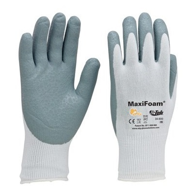 Seamless Knit Nylon Glove With Nitrile Coated Foam Grip On