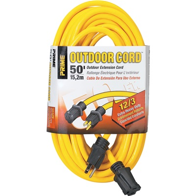 Prime Ec500830 Yellow Jacket Sjtw Single Plug Extension Cord, 12 Awg, 50 Ft 025880002 PWCEC500830