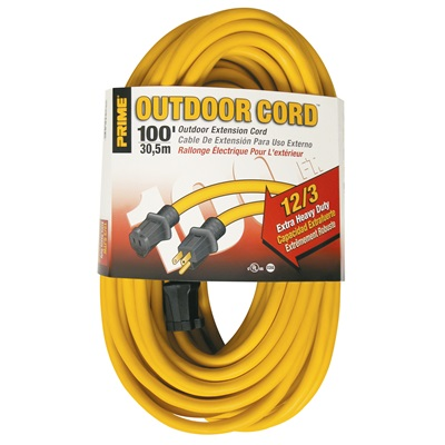 Prime Ec500835 Yellow Jacket Sjtw Single Plug Extension Cord, 12 Awg, 100 Ft 25890002 PWCEC500835