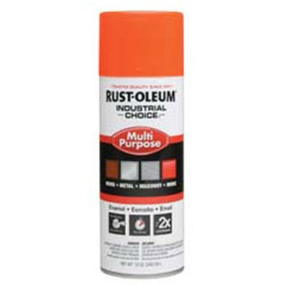 Rust-Oleum Industrial Choice 1654830 12 Oz Aerosol Can Solvent Based Multi-Purpose Alkyd Enamel Spray Paint, Gloss Fluorescent Orange 1654830 RUS1654830