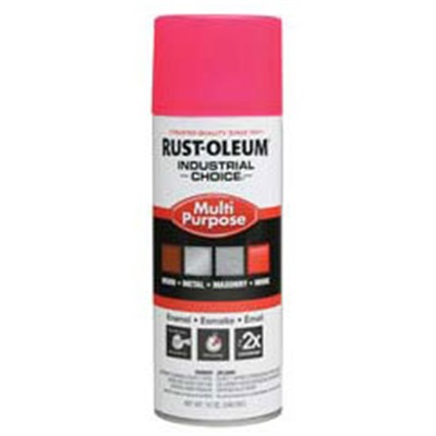 Rust-Oleum Industrial Choice 1659830 12 Oz Aerosol Can Solvent Based Multi-Purpose Alkyd Enamel Spray Paint, Gloss Fluorescent Pink 1659830 RUS1659830