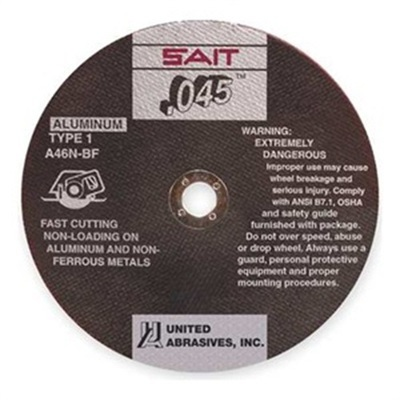 Sait 23314 46 Medium Grit Alo2 Type 1 Cut-Off Wheel, 4-1/2 Inch X 3/64 Inch X 7/8 Inch 23314 SAI23314