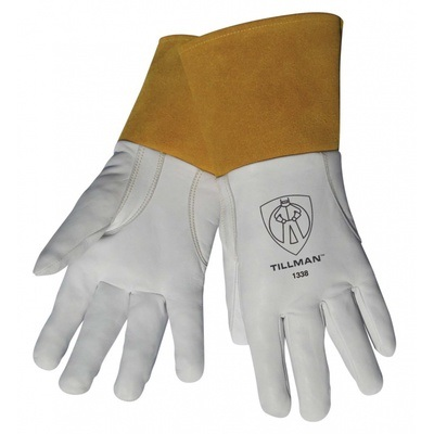 Tillman 1338 Top-Grain Goatskin Leather Welding Gloves, White, Large, Reinforced Thumb 1338L TIL1338L