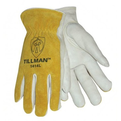 Tillman 1414 Top-Grain Cowhide Palm And Split Cowhide Leather Back Drivers Gloves, Pearl/Bourbon Brown, Medium, Keystone Thumb 1414M TIL1414M