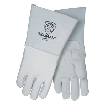 Tillman 750 Top-Grain Elkskin Palm And Back Welding Gloves, Pearl, Large, 14 Inch L, Reinforced Thumb 750L TIL750L