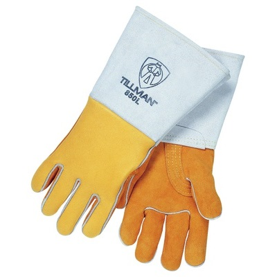 Tillman 850 Grain Elkskin Leather Palm Welding Gloves, Gold, Large, 14 Inch L, Reinforced Thumb 850L TIL850L