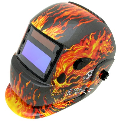 Tweco Weldskill Skull And Fire Fiber Auto-Darkening Welding Helmet, 1.69 Inch H X 3.86 Inch W Window 41001004 TWE4100-1004