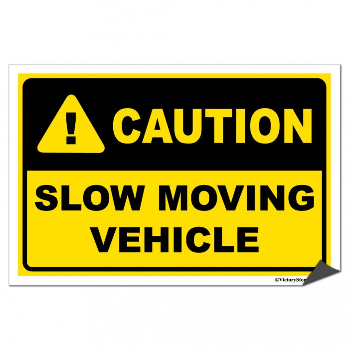Big Slow Moving Tractor Sign : Accuform frw slow moving vehicle sign quot label