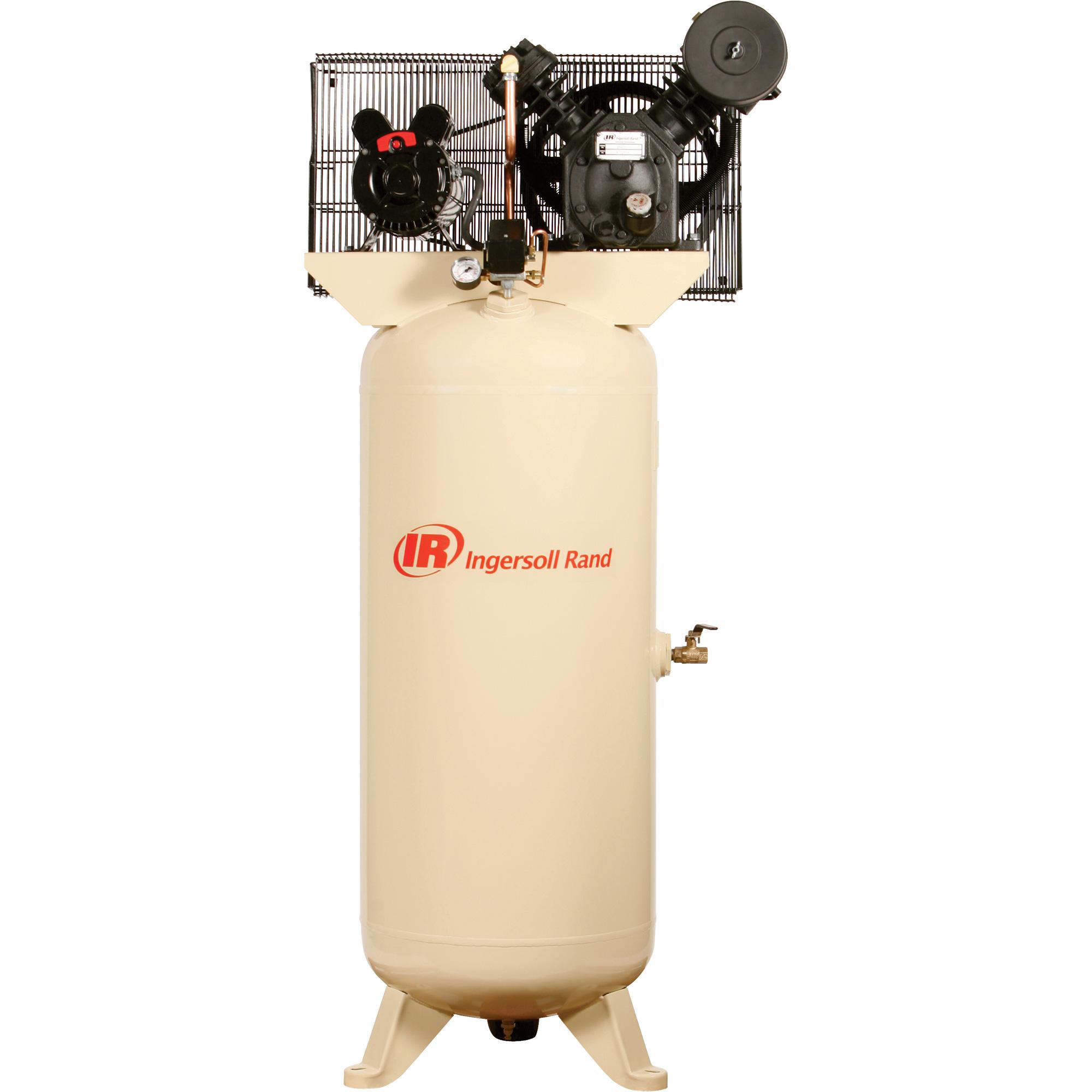 INGERSOLL RAND AIR COMPRESSOR 5HP 60GAL VERT 230V 1-PH 2-STAGE KIT-60 on