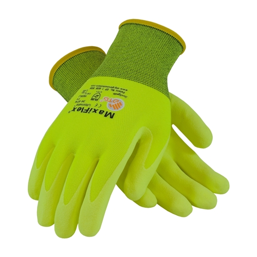 Hi Vis Seamless Knit Nylon Lycra Glove With Nitrile