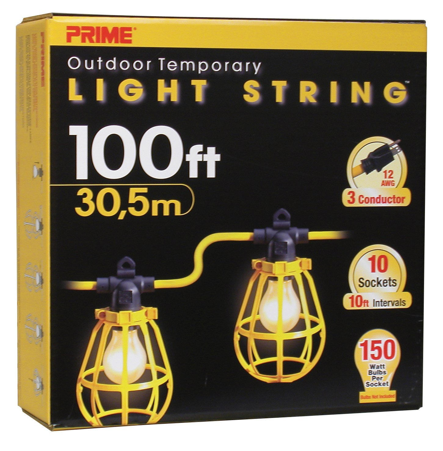 Construction Site String Lights: Prime Wire & Cable 12/3X100' Stringer Light W/Plastic