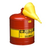 JUS7150110 - Justrite+7150110+Red+Galvanized+Steel+Type+I+Safety+Can+with+Funnel%2c+5+gal
