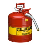 JUS7250130 - Justrite+7250130+Red+Galvanized+Steel+Type+II+Safety+Can+with+1+Inch+Hose%2c+5+gal