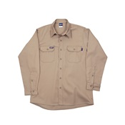 LAPIKH71XLREG - Lapco+IKH7+100%25+Cotton+Flame+Retardant+UniForm+Shirt%2c+Khaki%2c+XL%2c+Button%2c+7+oz