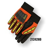 MAJ21242HO-L - Majestic+Gloves+Armor+Skin%e2%84%a2+21242+Synthetic+Leather+Palm+X10+Knucklehead+Drivers+Gloves%2c+High-Visibility+Orange%2c+Large