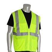 PIP302MVGZ4PLGB - PIP+302-MVGZ4P+100%25+Polyester+Economy+Value+Mesh+Safety+Vest%2c+Lime+Yellow%2c+Large%2c+28+Inch+L%2c+Zipper