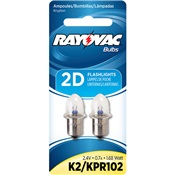 RAYK2-2T - RAYOVAC+K2-2T+2-D+CELL+FLASHLIGH+REPLACEMENT+BULBS+(+70640119+)