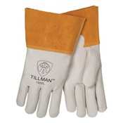 TIL1350M - Tillman%e2%84%a2+1350+Top-Gain+Cowhide+Leather+Heavy-Duty+Welding+Gloves%2c+Pearl%2c+Medium%2c+12+Inch+L%2c+Wing+Thumb