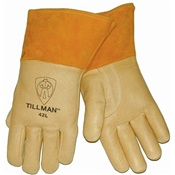 TIL42S - Tillman%e2%84%a2+42+Top-Grain+Pigskin+Heavyweight+Welding+Gloves%2c+Tan%2c+Small%2c+12+Inch+L%2c+Straight%2c+Reinforced+Thumb